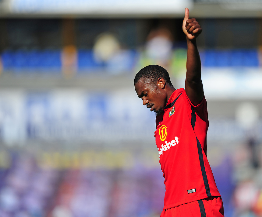Blackburn Rovers' Bengadli-Fode Koita applauds the fans at the end of the game<br /> <br /> Photographer Chris Vaughan/CameraSport<br /> <br /> Football - The Football League Sky Bet Championship - Huddersfield Town v Blackburn Rovers - Saturday 15th August 2015 - The John Smith's Stadium - Huddersfield<br /> <br /> &copy; CameraSport - 43 Linden Ave. Countesthorpe. Leicester. England. LE8 5PG - Tel: +44 (0) 116 277 4147 - admin@camerasport.com - www.camerasport.com