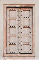 Art in architecture, ancient wooden doors, Agra, India