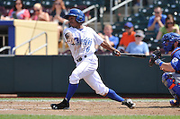 Terrance Gore #6 of the Omaha Storm Chasers swings against the Las Vegas 51s at Werner Park on August 17, 2014 in Omaha, Nebraska. The Storm Chasers  won 4-0.   (Dennis Hubbard/Four Seam Images)