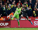 Dean Henderson of Sheffield Utd kicks clear under pressure from Josip Drmic of Norwich City during the Premier League match at Bramall Lane, Sheffield. Picture date: 7th March 2020. Picture credit should read: Simon Bellis/Sportimage