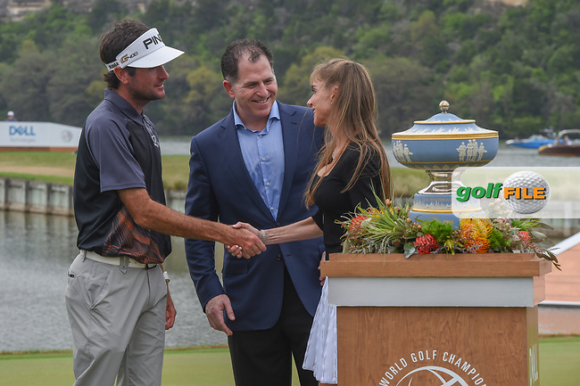 Bubba Watson (USA) meets Susan Dell, wife of Dell Technologies CEO, Michael Dell following the World Golf Championships, Dell Match Play, Austin Country Club, Austin, Texas. 3/25/2018.<br /> Picture: Golffile   Ken Murray<br /> <br /> <br /> All photo usage must carry mandatory copyright credit (© Golffile   Ken Murray)