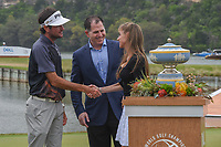 Bubba Watson (USA) meets Susan Dell, wife of Dell Technologies CEO, Michael Dell following the World Golf Championships, Dell Match Play, Austin Country Club, Austin, Texas. 3/25/2018.<br /> Picture: Golffile | Ken Murray<br /> <br /> <br /> All photo usage must carry mandatory copyright credit (&copy; Golffile | Ken Murray)