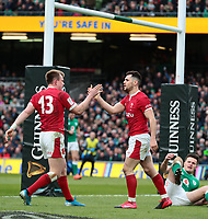 8th February 2020; Aviva Stadium, Dublin, Leinster, Ireland; International Six Nations Rugby, Ireland versus Wales; Nick Tompkins (Wales) and Tomos Williams (Wales) celebrate their try