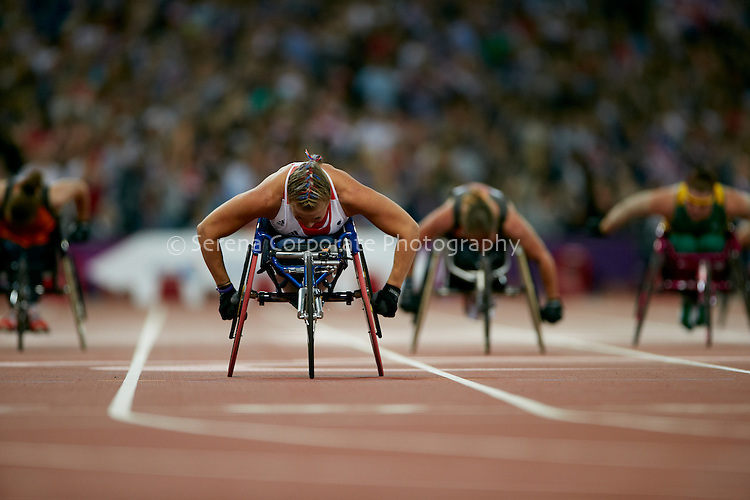Hannah Cockcroft of the UK powers ahead of her rivals to win the women's T34 200m final in a new Paralympic Record time of 31:09 secs at the London Paralympic Games - Athletics 6.9.12