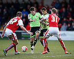 Ryan Flynn and Che Adams of Sheffield Utd compete for the ball with Marcus Nilsson of Fleetwood Town  - English League One - Fleetwood Town vs Sheffield Utd - Highbury Stadium - Fleetwood - England - 5rd March 2016 - Picture Simon Bellis/Sportimage