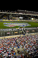 Wide angle view of Bank of America 500 NASCAR race at Lowes's Motor Speedway in Concord, NC.