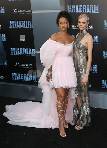 HOLLYWOOD, CA - JULY 17: Rihanna and Cara Delevingne at the Valerian And The City Of A Thousand Planets World Premiere at the TCL Chinese Theater in Hollywood, California on July 17, 2017. Credit: Faye Sadou/MediaPunch