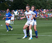 Maddy Haller (18) of Duke tries to hold  Morgan Brian (6) of Virginia during the game at Klockner Stadium in Charlottesville, VA.  Virginia defeated Duke, 1-0.