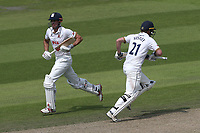 Alastair Cook of Essex (L) and Tom Westley add to the total during Lancashire CCC vs Essex CCC, Specsavers County Championship Division 1 Cricket at Emirates Old Trafford on 10th June 2018