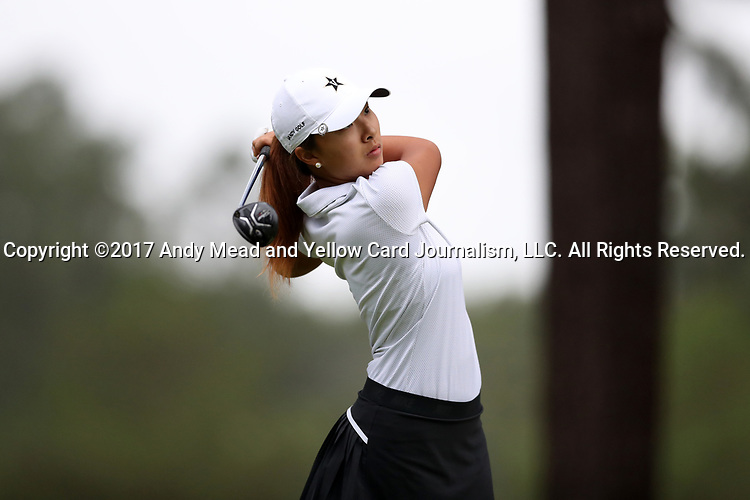 CHAPEL HILL, NC - OCTOBER 13: Vanderbilt's Louise Yu on the 10th tee. The first round of the Ruth's Chris Tar Heel Invitational Women's Golf Tournament was held on October 13, 2017, at the UNC Finley Golf Course in Chapel Hill, NC.