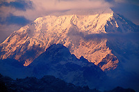 The first rays of the morning sun hit SALCANTAY (6180m) - the INCA TRAIL TO MACHU PICCHU - PERUVIAN ANDES