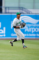 Clinton LumberKings left fielder Dimas Ojeda (33) during a game against the West Michigan Whitecaps on May 3, 2017 at Fifth Third Ballpark in Comstock Park, Michigan.  West Michigan defeated Clinton 3-2.  (Mike Janes/Four Seam Images)