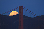 A total lunar eclipse over San Francisco landmarks.