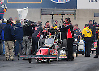 Oct. 2, 2011; Mohnton, PA, USA: NHRA crew members for top fuel dragster driver David Grubnic during the Auto Plus Nationals at Maple Grove Raceway. Mandatory Credit: Mark J. Rebilas-