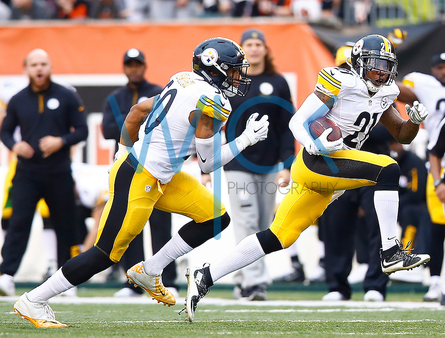 Robert Golden #21 of the Pittsburgh Steelers runs with the ball after catching an interception against the Cincinnati Bengals during the game at Paul Brown Stadium on December 12, 2015 in Cincinnati, Ohio. (Photo by Jared Wickerham/DKPittsburghSports)
