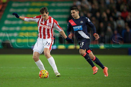 02.03.2016. The Britannia Stadium, Stoke, England. Barclays Premier League. Stoke City versus Newcastle United. Stoke City defender Philipp Wollscheid and Newcastle United forward Aleksandar Mitrovic.