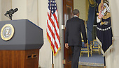 "US President Barack departs after delivering a prime time address from the Cross Hall of the White House on September 10, 2014 in Washington, DC.  Vowing to target the Islamic State with air strikes ""wherever they exist"", Obama pledged to lead a broad coalition to fight IS and work with ""partner forces"" on the ground in Syria and Iraq.  <br /> Credit: Saul Loeb / Pool via CNP"