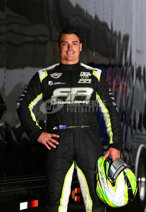 Feb 9, 2014; Pomona, CA, USA; NHRA pro stock driver Shane Tucker poses for a portrait during the Winternationals at Auto Club Raceway at Pomona. Mandatory Credit: Mark J. Rebilas-