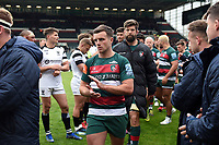 George Ford of Leicester Tigers leads his team off the field. Gallagher Premiership match, between Leicester Tigers and Bristol Bears on April 27, 2019 at Welford Road in Leicester, England. Photo by: Patrick Khachfe / JMP