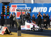 Feb 4, 2016; Chandler, AZ, USA; NHRA top fuel driver Richie Crampton during pre season testing at Wild Horse Pass Motorsports Park. Mandatory Credit: Mark J. Rebilas-USA TODAY Sports