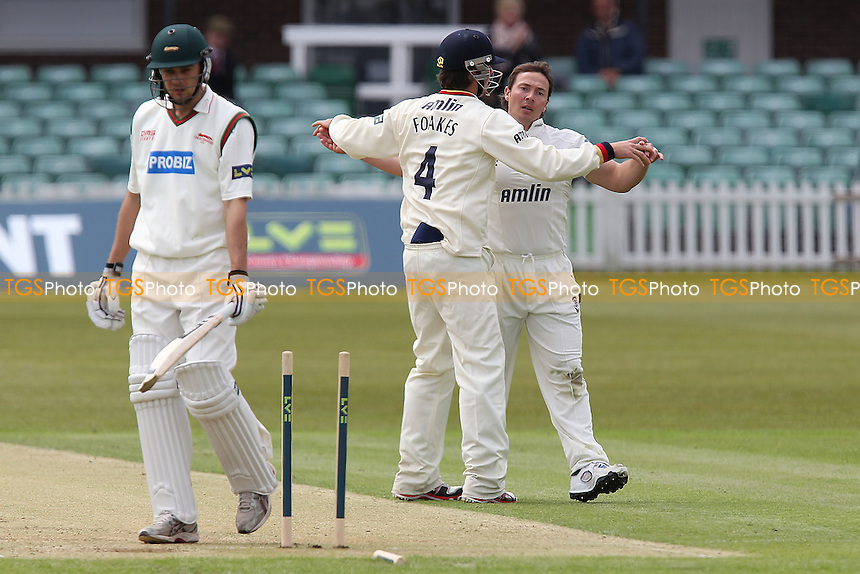 Nathan Buck of Leicestershire is bowled out by Graham Napier who celebrates (R) - Leicestershire CCC vs Essex CCC  - LV County Championship Division Two Cricket at Grace Road, Leicester - 17/05/12 - MANDATORY CREDIT: Gavin Ellis/TGSPHOTO - Self billing applies where appropriate - 0845 094 6026 - contact@tgsphoto.co.uk - NO UNPAID USE.