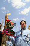 Easter, Holy Saturday in Jerusalem, Palestinian scout with the Holy Light following the ceremony of the Holy Light