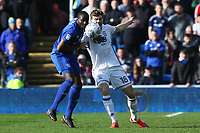 Sol Bamba of Cardiff City marks Sam Gallagher of Birmingham City during the Sky Bet Championship match between Cardiff City and Birmingham City at the Cardiff City Stadium, Wales, UK. Saturday 10 March 2018