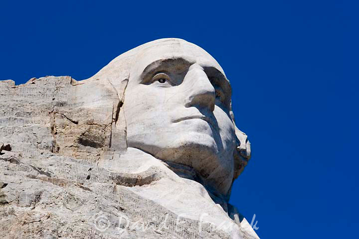 Mount Rushmore featuring the head of Presidents George Washington near Keystone South Dakota