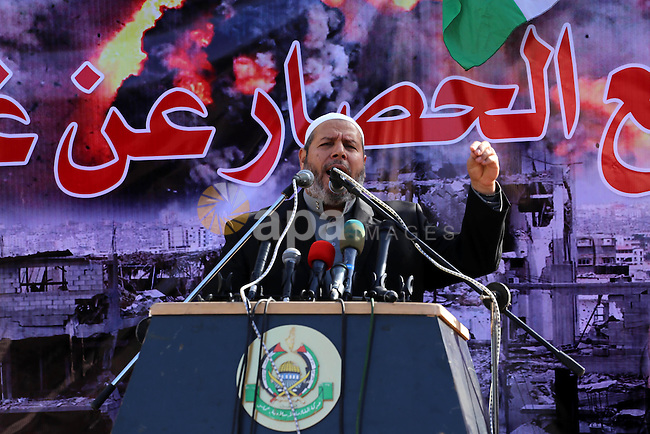 Senior Hamas leader Khalil al-Hayya, gives a speech during Friday prayers in a protest demanding for the to launch of reconstruction of the territory devastated by a 50-day summer Israeli war, outside the headquarter of UNDP, in Gaza city on January 2, 2015. Photo by Mohammed Asad