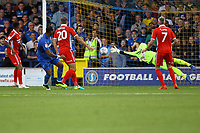 Liam Trotter of AFC Wimbledon scores the first goal for his team during AFC Wimbledon vs Scunthorpe United, Sky Bet EFL League 1 Football at the Cherry Red Records Stadium on 15th September 2018