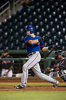 AZL Rangers designated hitter Sam Huff (12) follows through on his swing against the AZL Indians on August 26, 2017 at Goodyear Ball Park in Goodyear, Arizona. AZL Indians defeated the AZL Rangers 5-3. (Zachary Lucy/Four Seam Images)