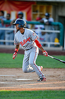 Gabriel Ovalle (17) of the Billings Mustangs at bat against the Orem Owlz in Pioneer League action at Home of the Owlz on July 25, 2016 in Orem, Utah. Orem defeated Billings 6-5. (Stephen Smith/Four Seam Images)
