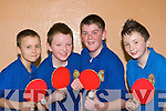 DJ Roche, Gearoid Kelly, David O'Donoghue and Christy Barrett Knocknagoshel batting at the Kerry Table Tennis Community Games final in St Marys Hall Killarney on Sunday