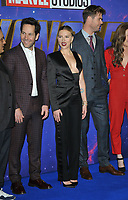 Paul Rudd, Scarlett Johansson and Chris Hemsworth at the &quot;Avengers: Endgame&quot; UK fan event, Picturehouse Central, Corner of Shaftesbury Avenue and Great Windmill Street, London, England, UK, on Wednesday 10th April 2019.<br /> CAP/CAN<br /> &copy;CAN/Capital Pictures