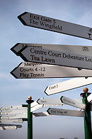 Directional markers in storage at Wimbledon, The All England Lawn Tennis Club (AELTC), London.