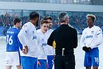 Referee Sebastian Stockridge explaining the stoppage to Portsmouth players. Oldham v Portsmouth League 1