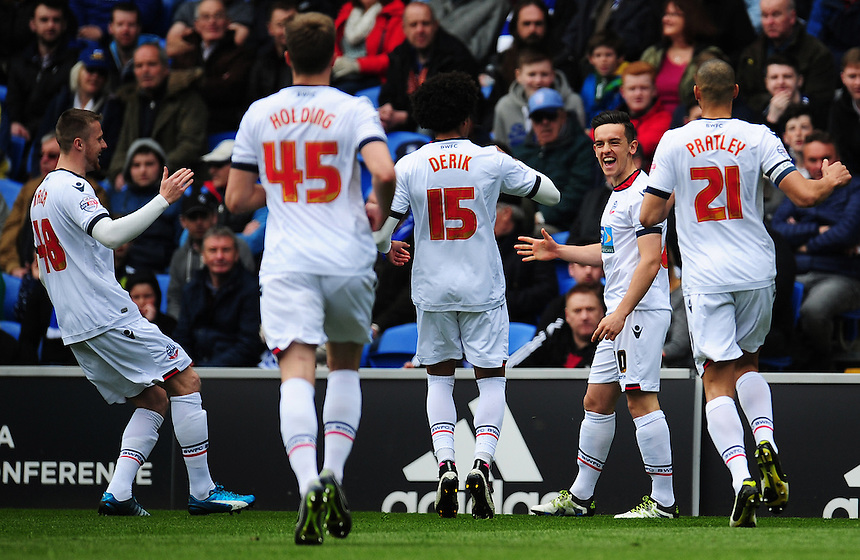GOAL CELEBRATION - Bolton Wanderers' Zach Clough celebrates scoring his sides first goal <br /> <br /> Photographer Kevin Barnes/CameraSport<br /> <br /> Football - The Football League Sky Bet Championship - Cardiff City v Bolton Wanderers - Saturday 23rd April 2016 - Cardiff City Stadium - Cardiff <br /> <br /> &copy; CameraSport - 43 Linden Ave. Countesthorpe. Leicester. England. LE8 5PG - Tel: +44 (0) 116 277 4147 - admin@camerasport.com - www.camerasport.com