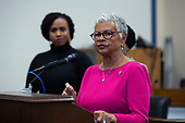United States Representative Bonnie Watson Coleman (Democrat of New Jersey), joined by United States Representative Ayanna Pressley (Democrat of Massachusetts) and United States Representative Ilhan Omar (Democrat of Minnesota), speaks during a press conference at the United States Capitol in Washington D.C., U.S., on Thursday, December 5, 2019. <br /> <br /> Photographer: Stefani Reynolds/CNP