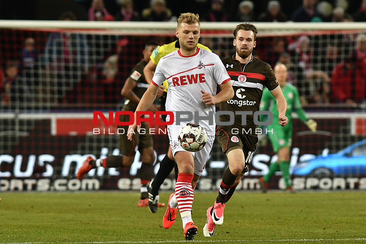08.02.2019, Rheinenergiestadion, Köln, GER, DFL, 2. BL, VfL 1. FC Koeln vs FC St. Pauli, DFL regulations prohibit any use of photographs as image sequences and/or quasi-video<br /> <br /> im Bild v. li. im Zweikampf Johannes Geis (#8, 1.FC Köln / Koeln) Christopher Buchtmann (#10, FC St. Pauli) <br /> <br /> Foto © nph/Mauelshagen