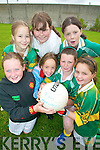 FOOTIE FUN: Having fun at the Mitchels GAA Club summer camp last Thursday were, front l-r: Michaela Henessy, Ariane Finnegan, Kellie O'Connor, Ma?ire Buckley. Back, l-r: Ellen Carrick Fortune, Claire O'Shea, Sarah O'Donoghue.   Copyright Kerry's Eye 2008