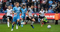 Bolton Wanderers' Dennis Politic (right) breaks away from Coventry City's Kyle McFadzean <br /> <br /> Photographer Andrew Kearns/CameraSport<br /> <br /> The EFL Sky Bet Championship - Bolton Wanderers v Coventry City - Saturday 10th August 2019 - University of Bolton Stadium - Bolton<br /> <br /> World Copyright © 2019 CameraSport. All rights reserved. 43 Linden Ave. Countesthorpe. Leicester. England. LE8 5PG - Tel: +44 (0) 116 277 4147 - admin@camerasport.com - www.camerasport.com