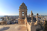 Rooftops buildings in Barrio de la Vina, cathedral roof, Cadiz, Spain