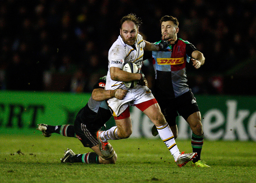 Photo: Richard Lane/Richard Lane Photography. Harlequins v Wasps.  European Rugby Champions Cup. 17/01/2015. Wasps' Andy Goode attacks.