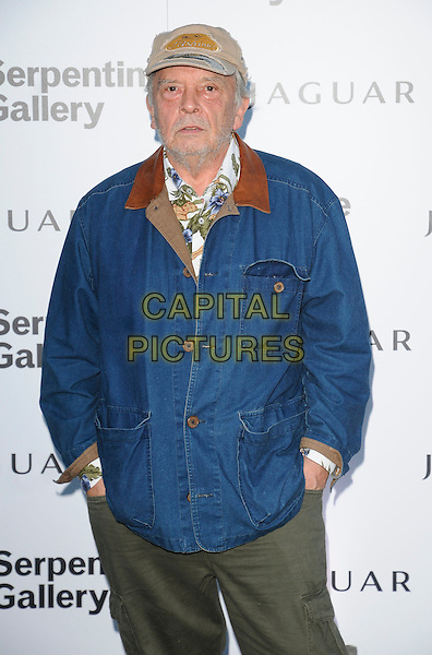 DAVID BAILEY .At the Serpentine Gallery Summer Party, Serpentine Gallery, Hyde Park, London, England, UK, July 8th 2010..half length blue denim jacket cap hat hands in pockets .CAP/CAN.©Can Nguyen/Capital Pictures.