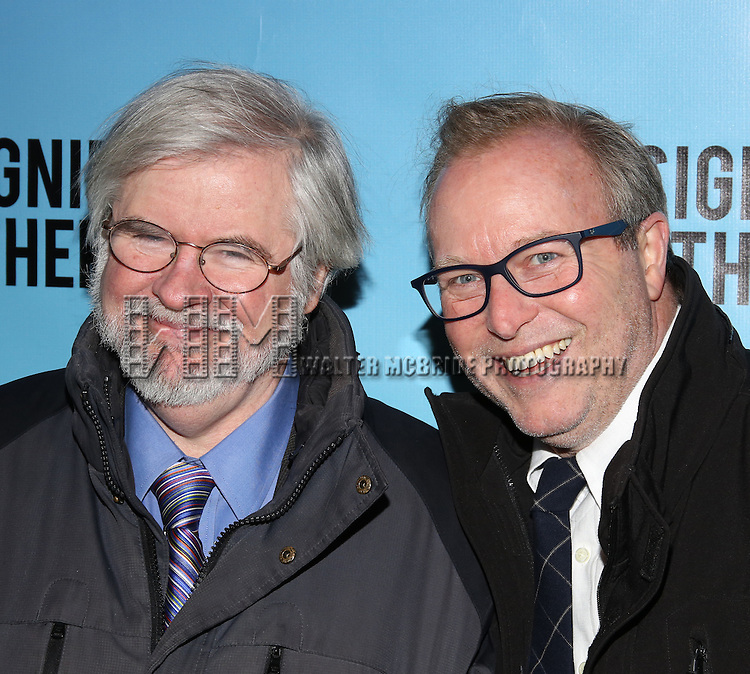 Christopher Durang and John Augustine attends the Broadway Opening Night performance for 'Significant Other' at the Booth Theatre on March 2, 2017 in New York City.