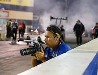 Jul 29, 2016; Sonoma, CA, USA; NHRA photographer Marc Gewertz during qualifying for the Sonoma Nationals at Sonoma Raceway. Mandatory Credit: Mark J. Rebilas-USA TODAY Sports