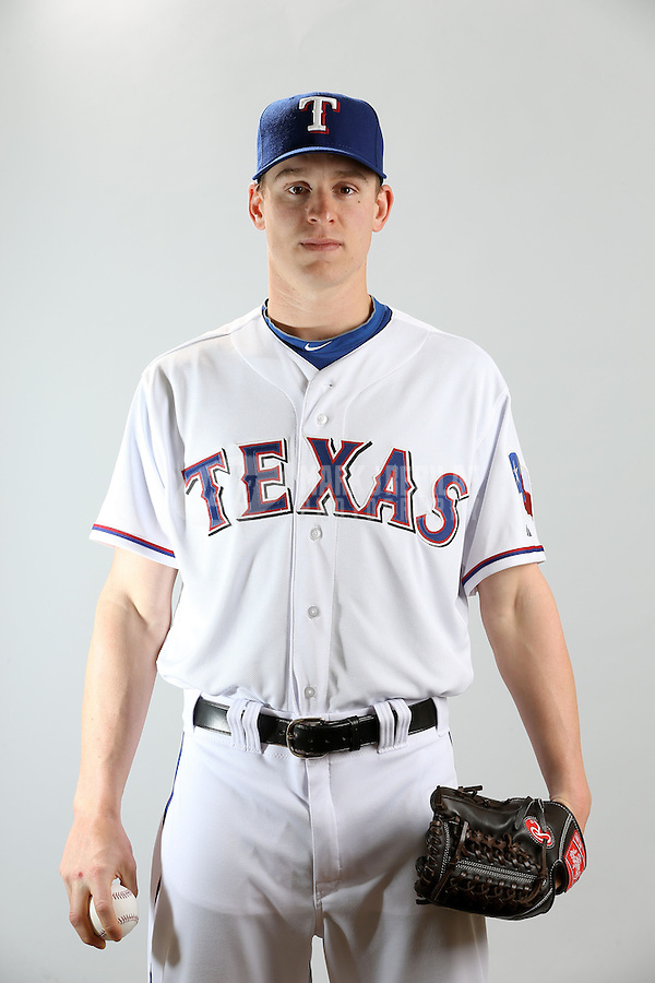 Feb. 20, 2013; Surprise, AZ, USA: Texas Rangers pitcher Neil Ramirez poses for a portrait during photo day at Surprise Stadium. Mandatory Credit: Mark J. Rebilas-