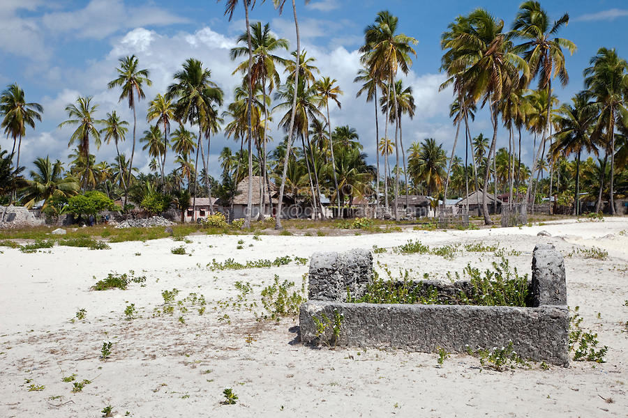 Jambiani, Zanzibar, Tanzania. Old Grave, Villages Houses in Background.