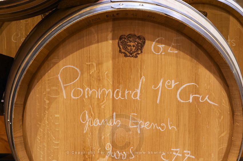 An oak barrel with text in chalk Pommard 1er Premier Cru Grands Epenots 2005, Maison Louis Jadot, Beaune Côte Cote d Or Bourgogne Burgundy Burgundian France French Europe European