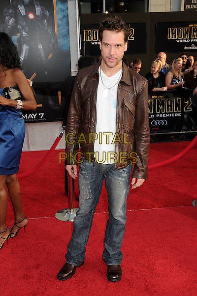 """DANE COOK .""""Iron Man 2"""" World Premiere held at the El Capitan Theatre, Hollywood, California, USA, 26th April 2010..arrivals full length brown leather jacket white t-shirt jeans .CAP/ADM/BP.©Byron Purvis/AdMedia/Capital Pictures."""